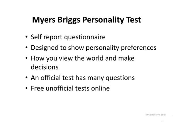 photo about Short Myers Briggs Test Printable identified as Small Myers Briggs Temperament Examine - English ESL Powerpoints