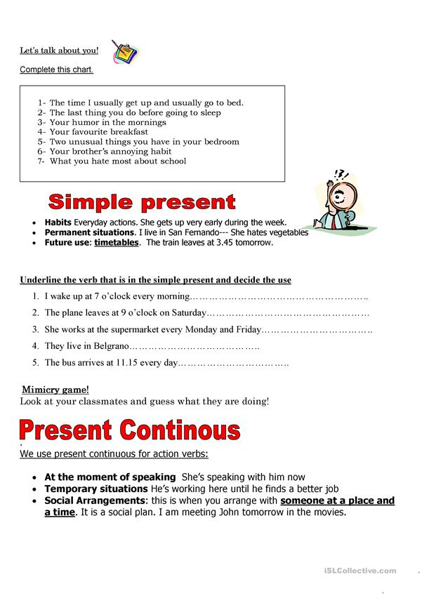 SIMPLE PRESENT AND CONTINUOUS