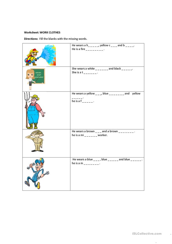 13 FREE ESL community helpers worksheets