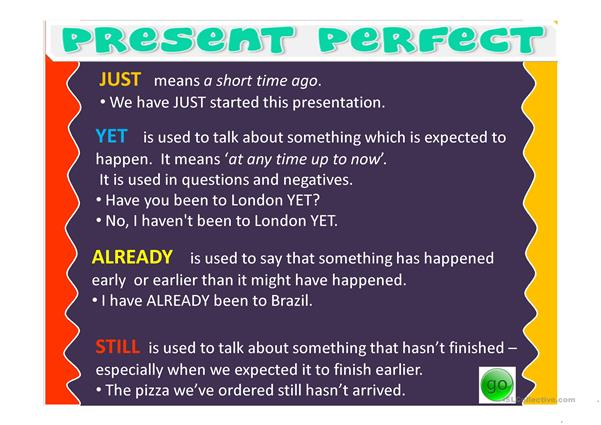 Present Perfect - STILL, ALREADY, JUST, YET - English ESL Powerpoints for  distance learning and physical classrooms
