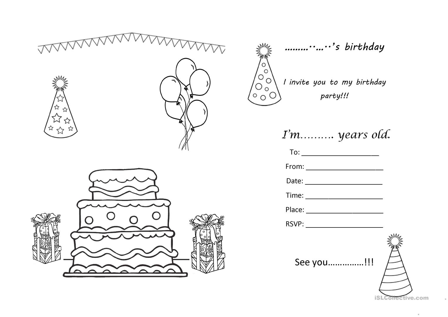 birthday party invitation worksheet free esl printable worksheets made by teachers. Black Bedroom Furniture Sets. Home Design Ideas