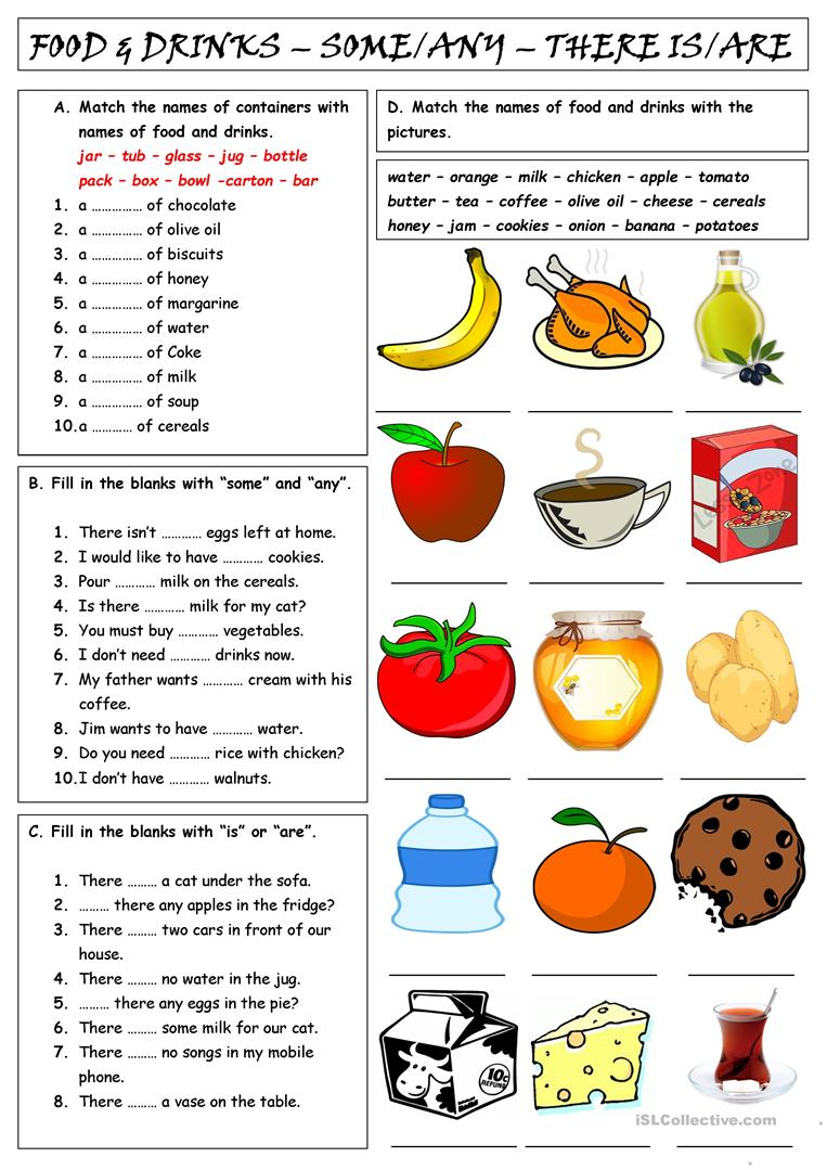 food drinks some any there is are english esl worksheets. Black Bedroom Furniture Sets. Home Design Ideas