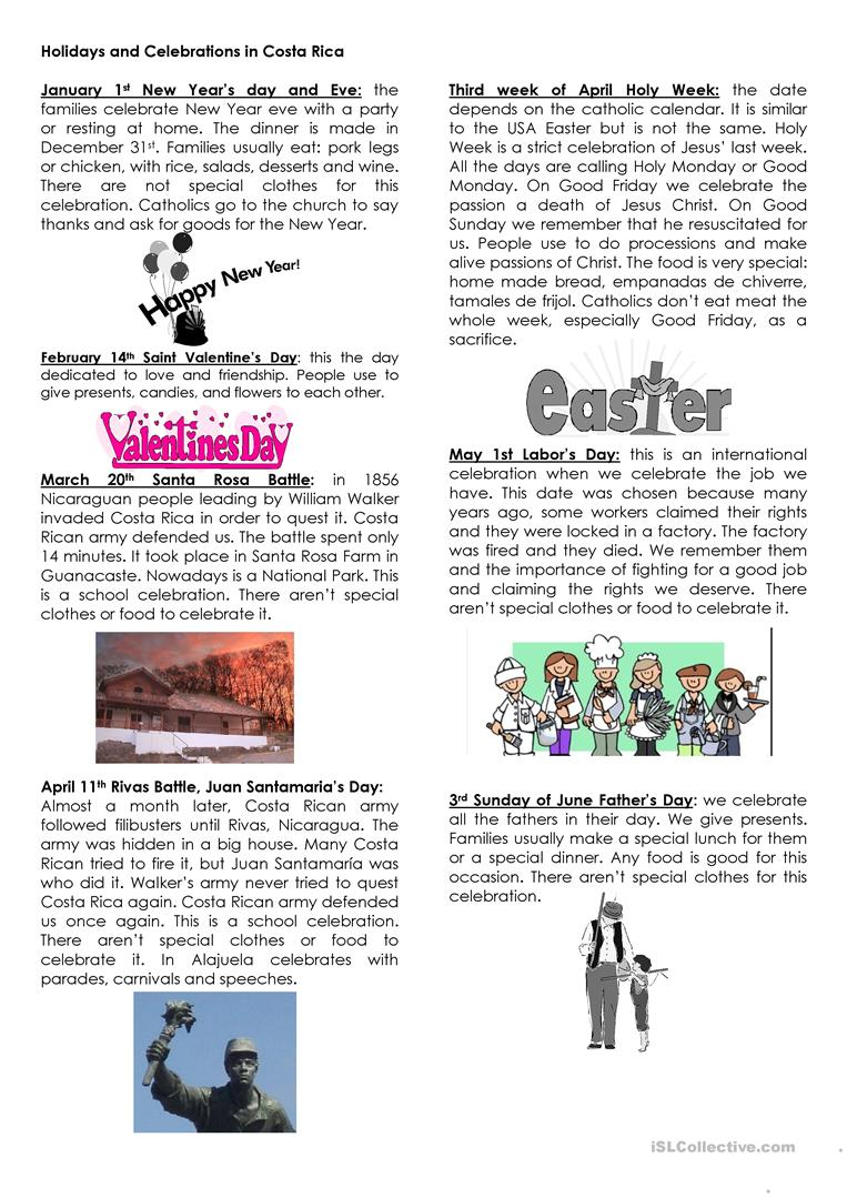 14 free esl costa rica worksheets holidays in costa rica m4hsunfo