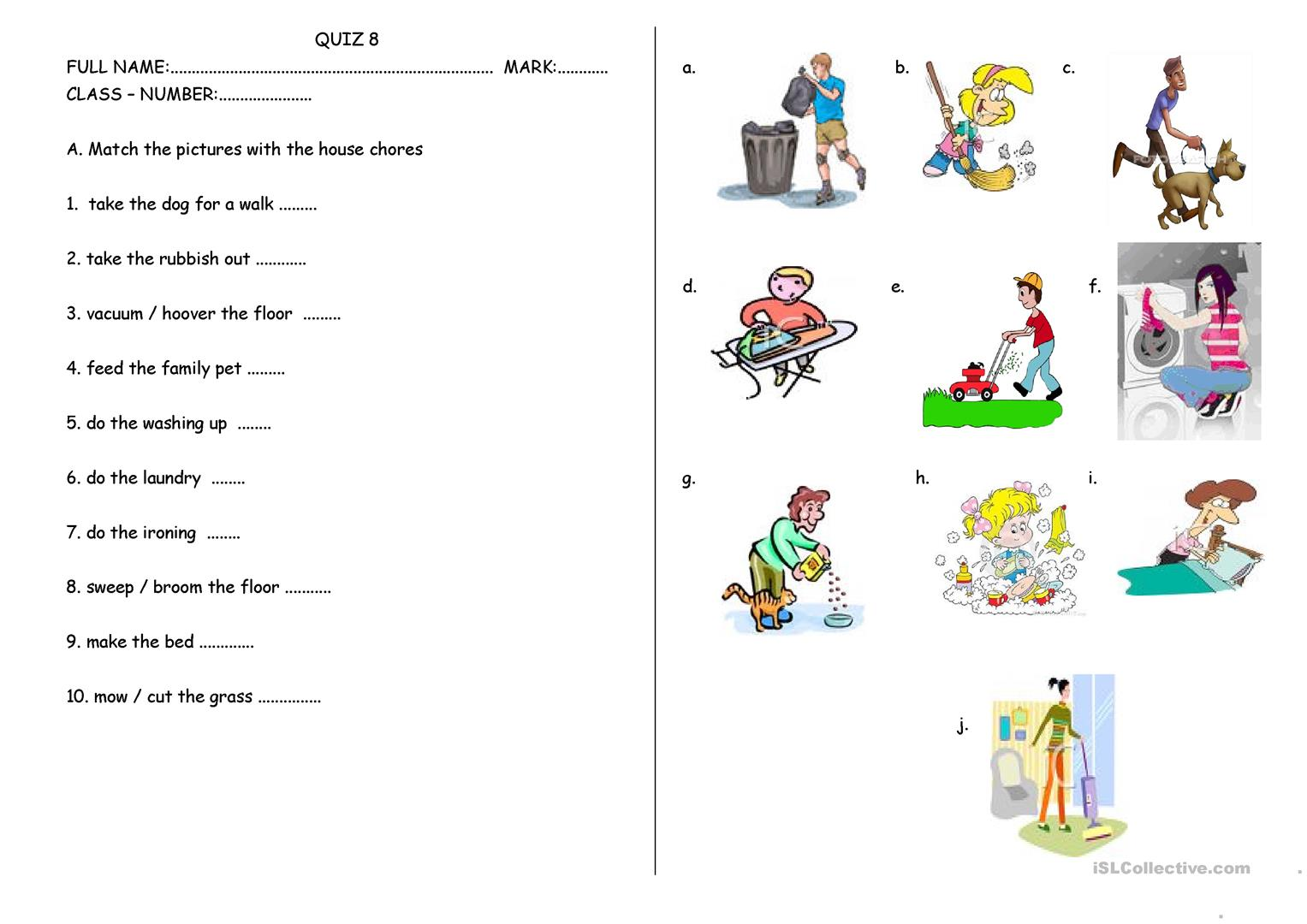 HOUSE CHORES AND SCHOOL RULES - English ESL Worksheets