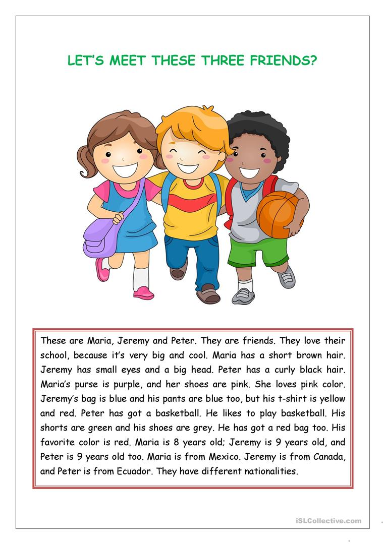 - Reading Comprehension For Kids - English ESL Worksheets For