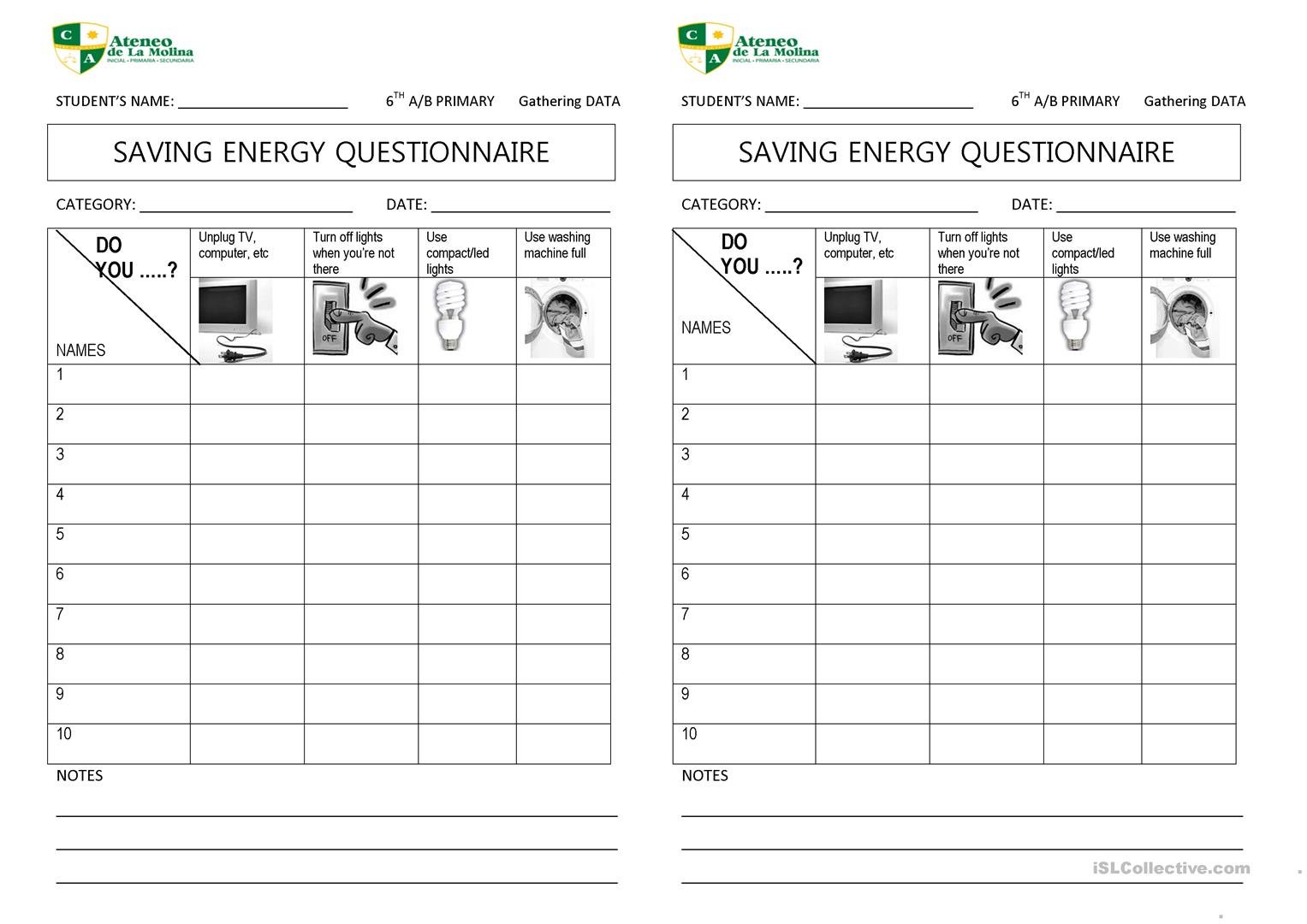 SAVE ENERGY QUESTIONNAIRE - English ESL Worksheets
