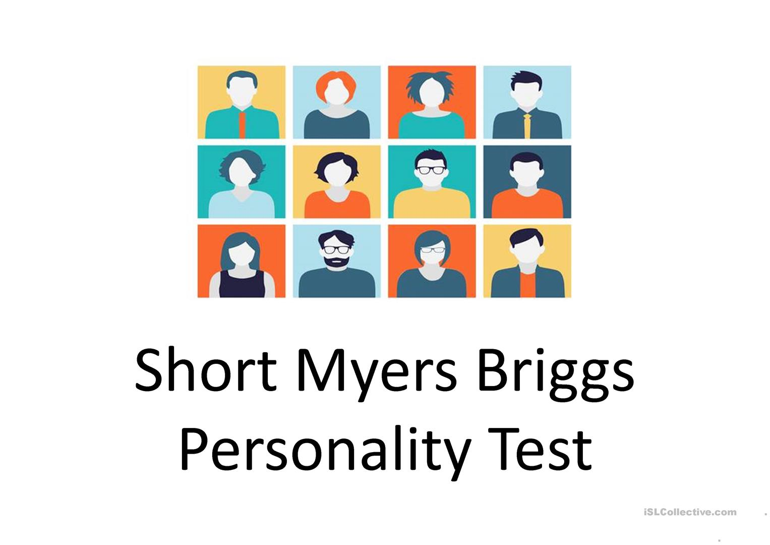 photo regarding Personality Tests Printable referred to as Brief Myers Briggs Persona Verify - English ESL Powerpoints