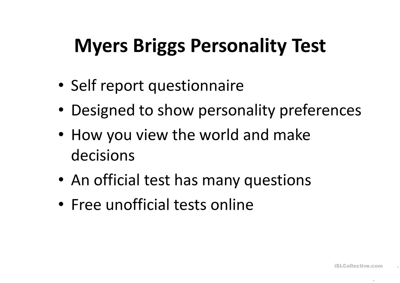 myers-briggs personality analysis essay Self analysis and personality intelligence and the study of personality, such as myers-briggs type essay have discussed the four personality.