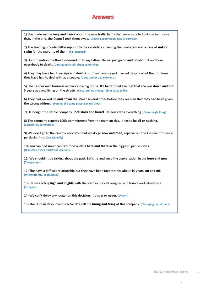 Siamese Twins - Word groups and idioms - English ESL Worksheets