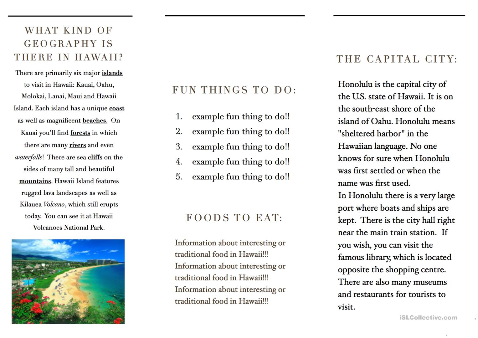 Travel brochure template and example brochure worksheet free esl printable worksheets made by for Printable travel brochure