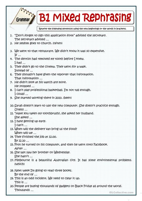B1 Rephrasing End Of The Year Revision Worksheet Free Esl