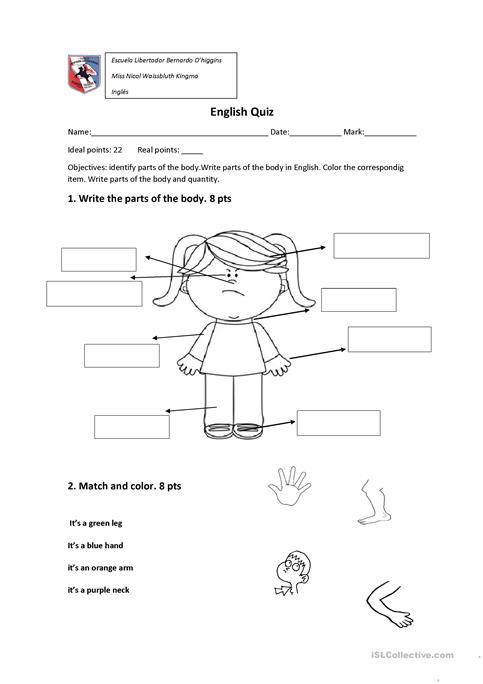 Generous Parts Matching Worksheets For Kids Human Body Same Picture1 ...
