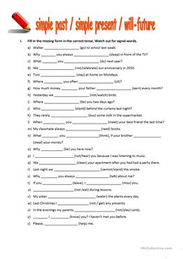 7 FREE ESL past simple present simple will future worksheets