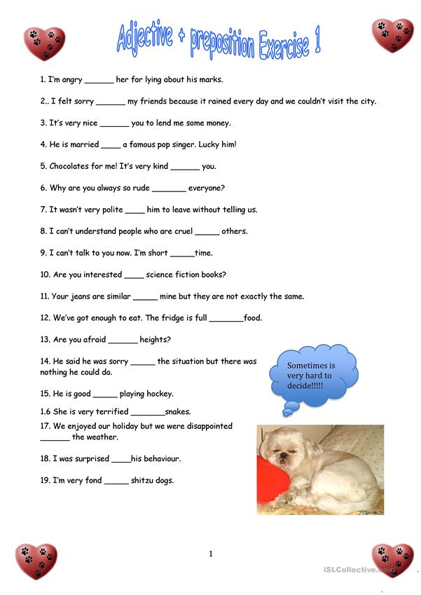 Adjectives + Prepositions 1