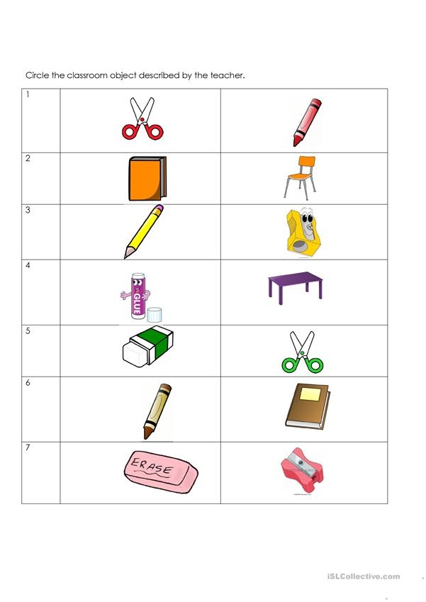 Classroom objects pictures.