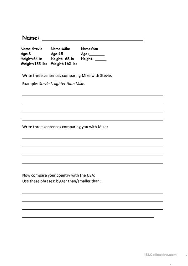 Comparison Practice worksheet -- two pages