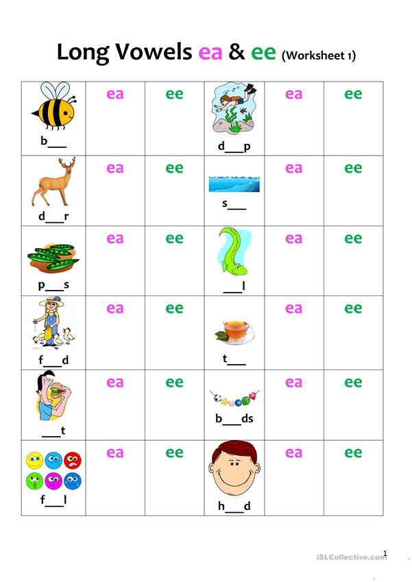 Long Vowels (ea & ee) Revision 1