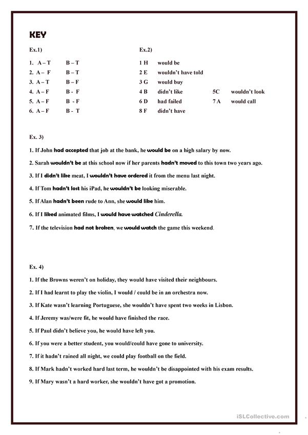 Mixed Conditionals (exercises)