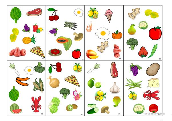 Spot-it card game (fruits and vegetables)