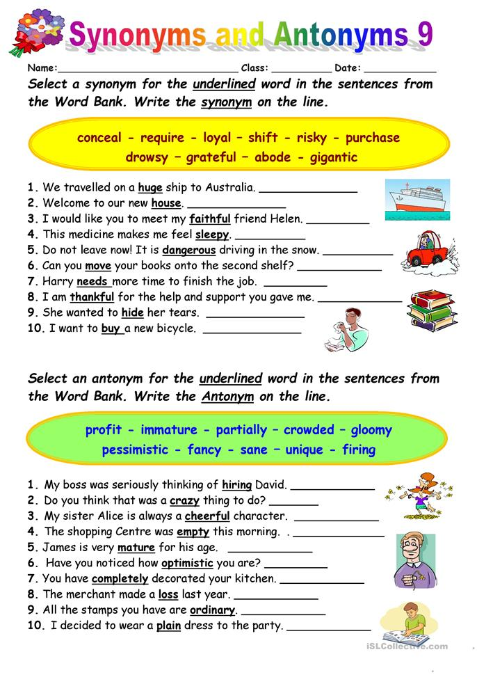 synonyms vs antonyms 9 worksheet free esl printable worksheets made by teachers. Black Bedroom Furniture Sets. Home Design Ideas