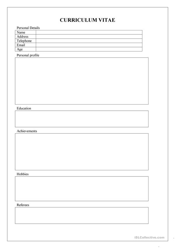 student cv template worksheet
