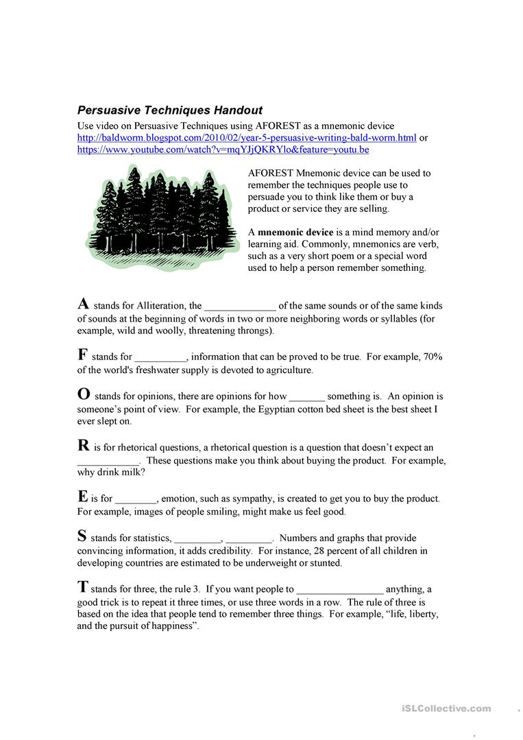 Worksheets Persuasive Techniques Worksheets 2 free esl persuasive techniques worksheets aforest techniques