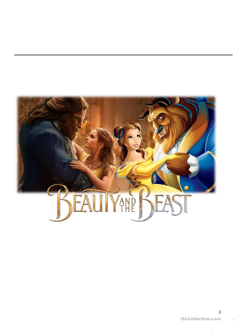3 Free Esl Beauty And The Beast Worksheets