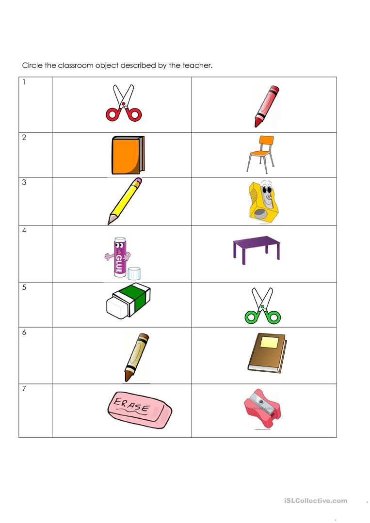 Classroom objects pictures. - English ESL Worksheets