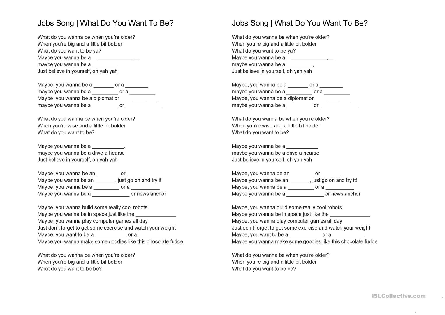 worksheet Your And You Re Worksheet jobs and occupations worksheet free esl printable full screen
