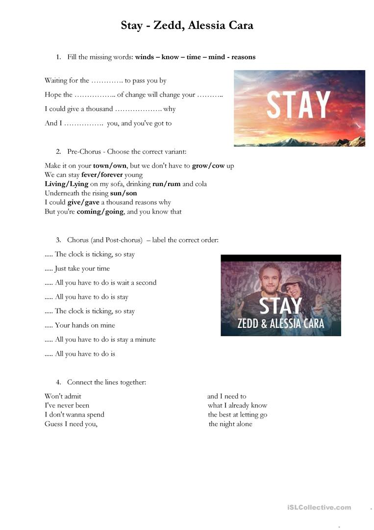 Stay Zedd Alessia Cara English Esl Worksheets For Distance Learning And Physical Classrooms
