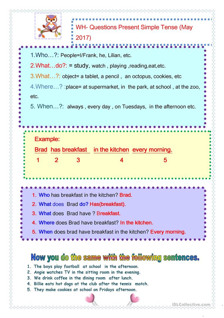 Workbooks » Wh Questions Present Simple Worksheets - Free Printable ...