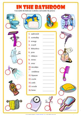 Bathroom vocabulary with pictures