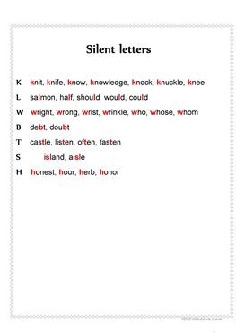 Silent E Worksheets As Well As Amazing Silent Letters Worksheets ...