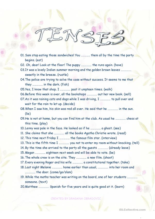 all tenses + key + vocabulary