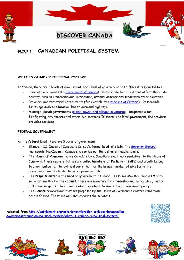 Canada introduction (Reading comprehension sheets) 2