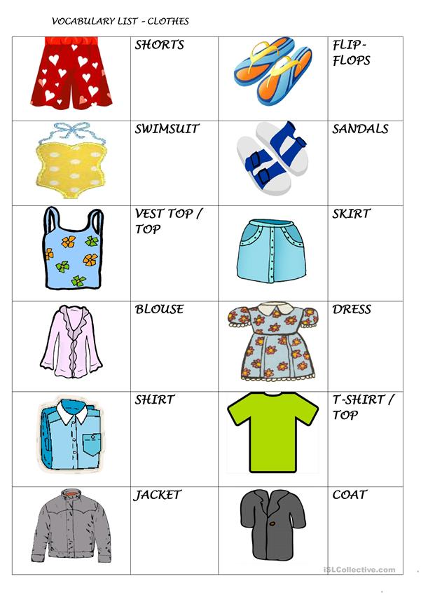 Clothing Picture and Vocabulary List