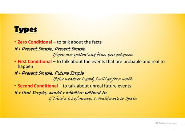 Conditionals exercises. Type: zero, first, second