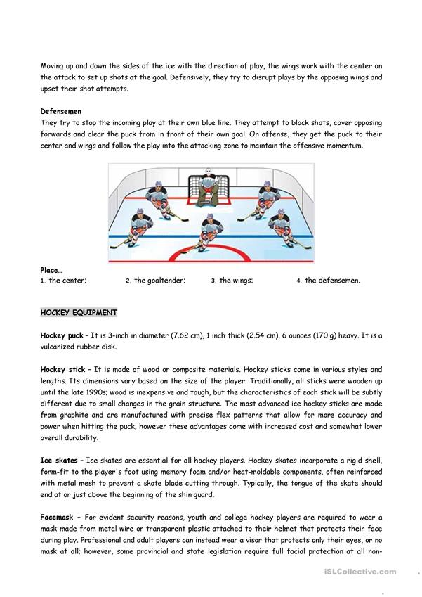 DISCOVER ICE HOCKEY (Reading comprehension sheets) 3 LOWER