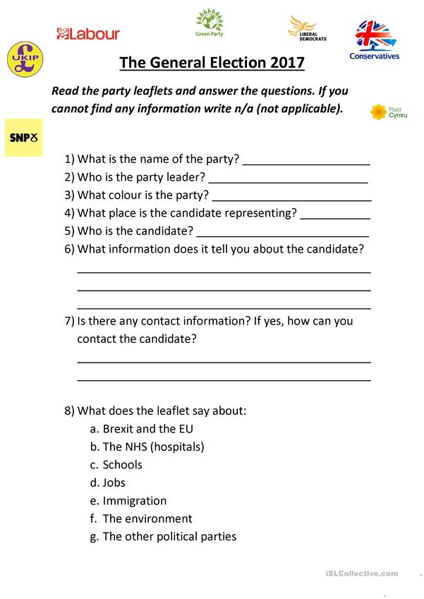General Election Party Leaflet Questions