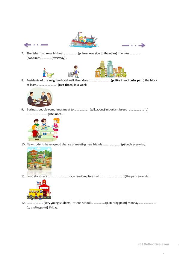 Preposition and Vocabulary Worksheet