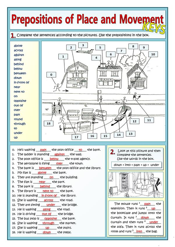 PREPOSITIONS OF PLACE AND MOVEMENT AND PLACES IN TOWN