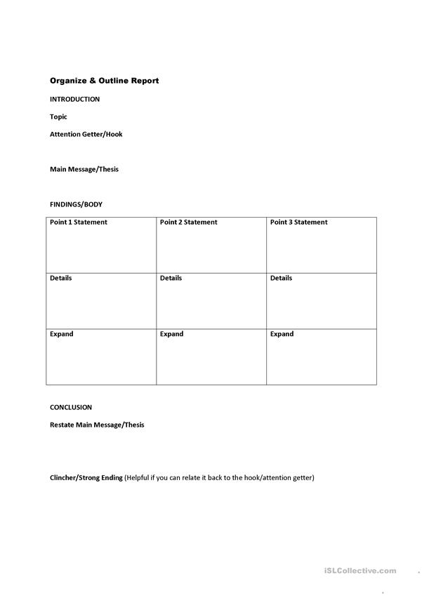 Report Handout & Worksheet