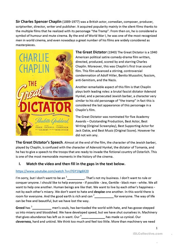 Listening Activity: The Great Dictator's Speech