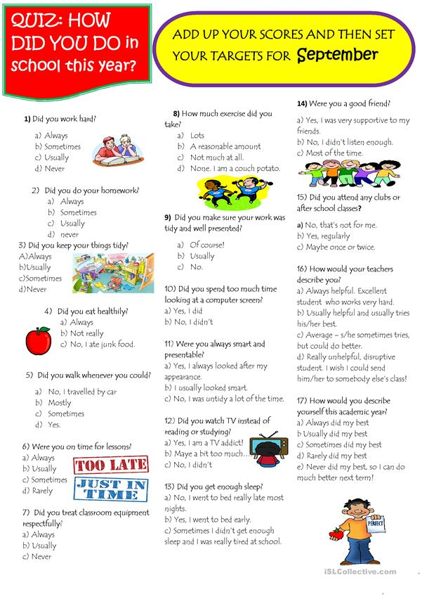 Quiz: how well did you do this year? worksheet - Free ESL printable