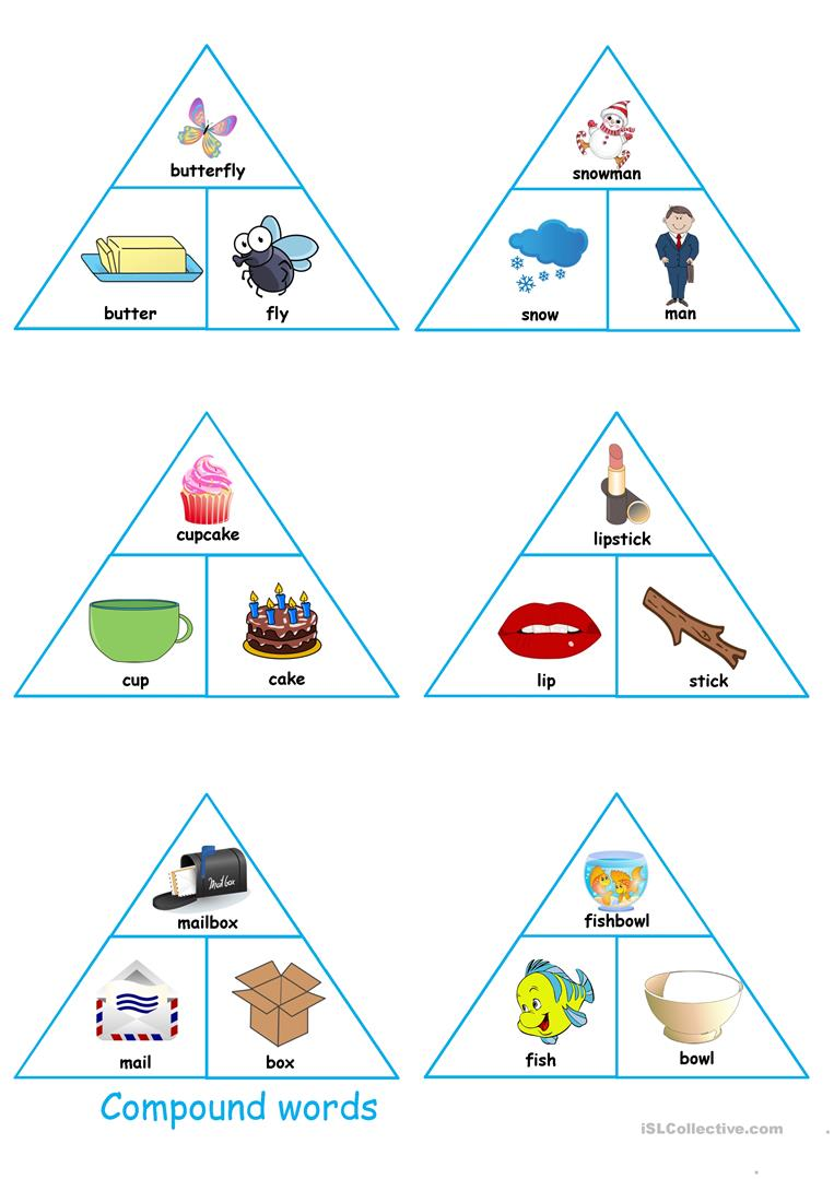 picture relating to Printable Compound Word Games referred to as Substance phrases puzzles/pyramids - English ESL Worksheets