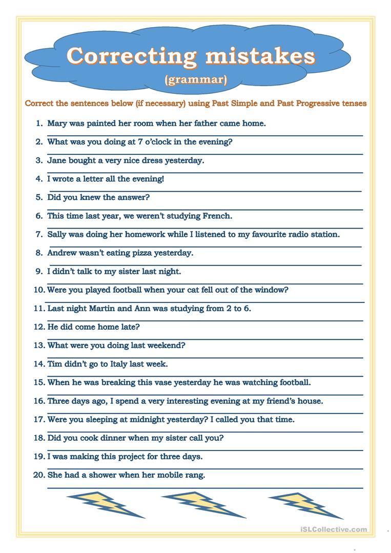 Worksheets Correcting Grammar Worksheets correcting mistakes past simple progressive worksheet free full screen