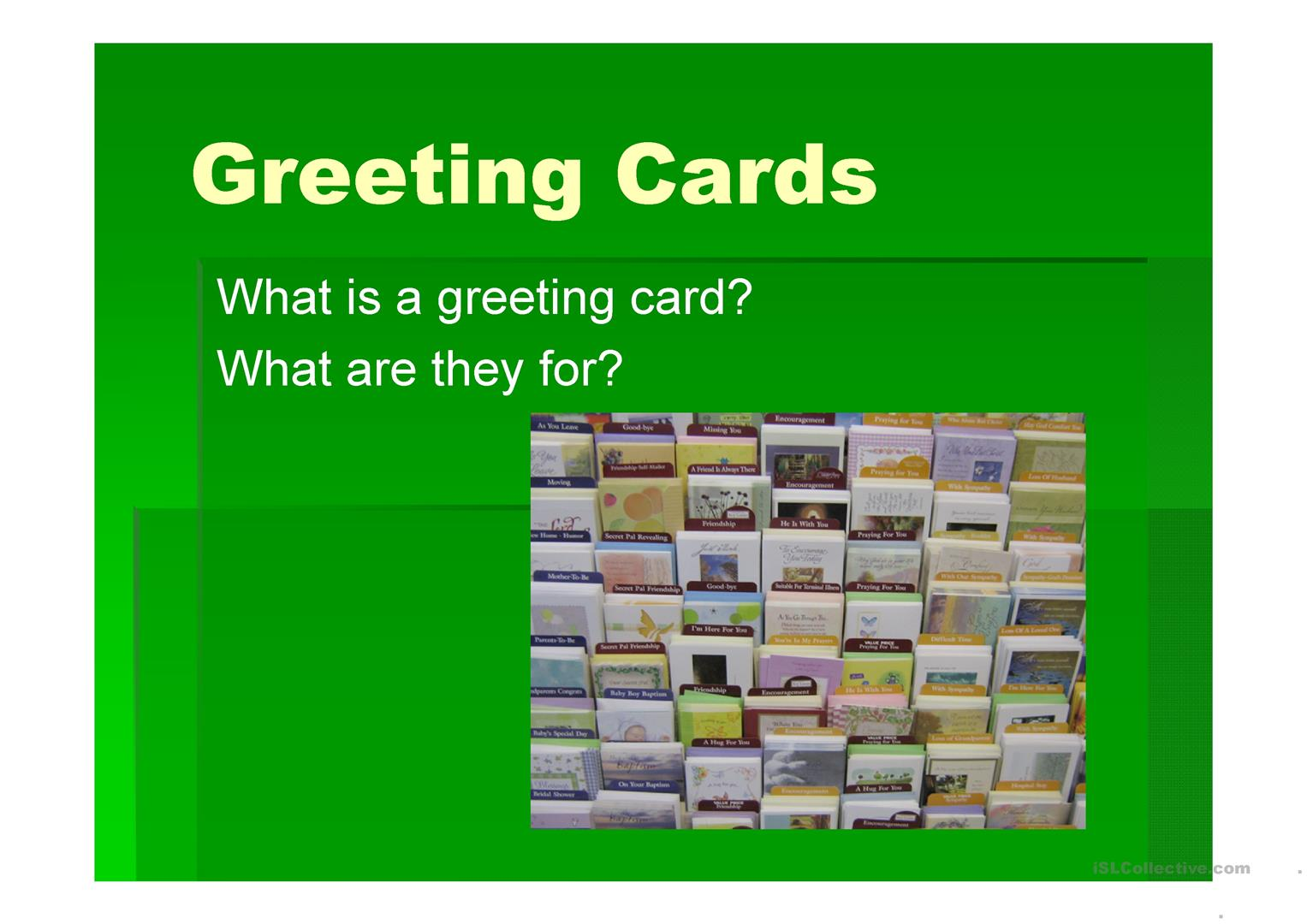 Greeting cards worksheet free esl projectable worksheets made by greeting cards full screen m4hsunfo