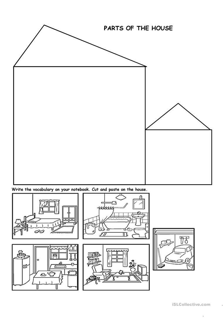 Parts of the house worksheet free esl printable for In this house copy and paste