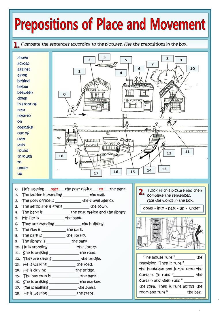 prepositions of place and movement and places in town worksheet free esl printable worksheets. Black Bedroom Furniture Sets. Home Design Ideas