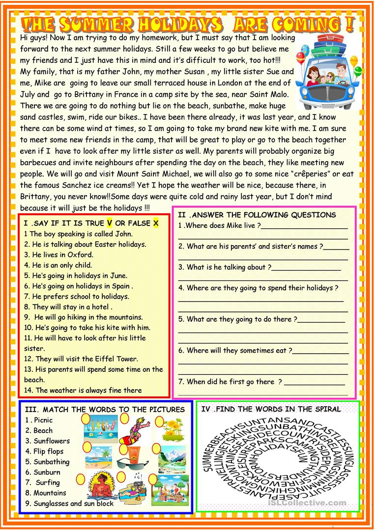 13 FREE ESL going on holiday worksheets